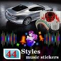Okeen-car styling 3d car flash etiqueta música rhythm new led el folha lâmpada luz som equalizador decoração 3d flash de 60*30 centímetros