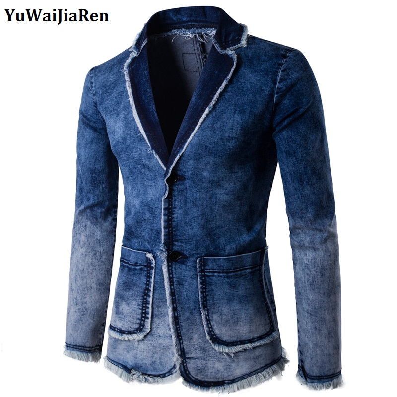 YuWaiJiaRen Spring Autumn Fashion Blazer Denim Jacket Suit Men Slim fit masculino Trend  ...