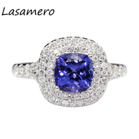 LASAMERO Ring For Women 1 17CT Crown Ring Certified Natural Tanzanite Ring Accents 18k Gold Real