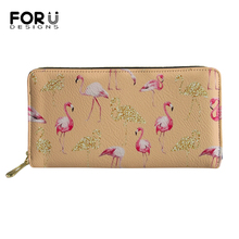 FORUDESIGNS Women Long Wallets Caroon Change Coin Purses Flamingos Animal Printing Pattern PU Leather Travel Passport Pockets