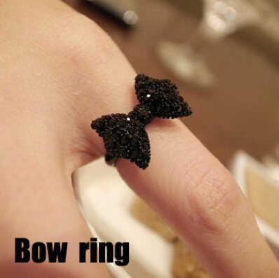 Nz291 موضة خمر لطيف أسود حجر الراين فراشة القوس خواتم مجوهرات اكسسوارات الأكثر مبيعا للنساء بالجملة 2016