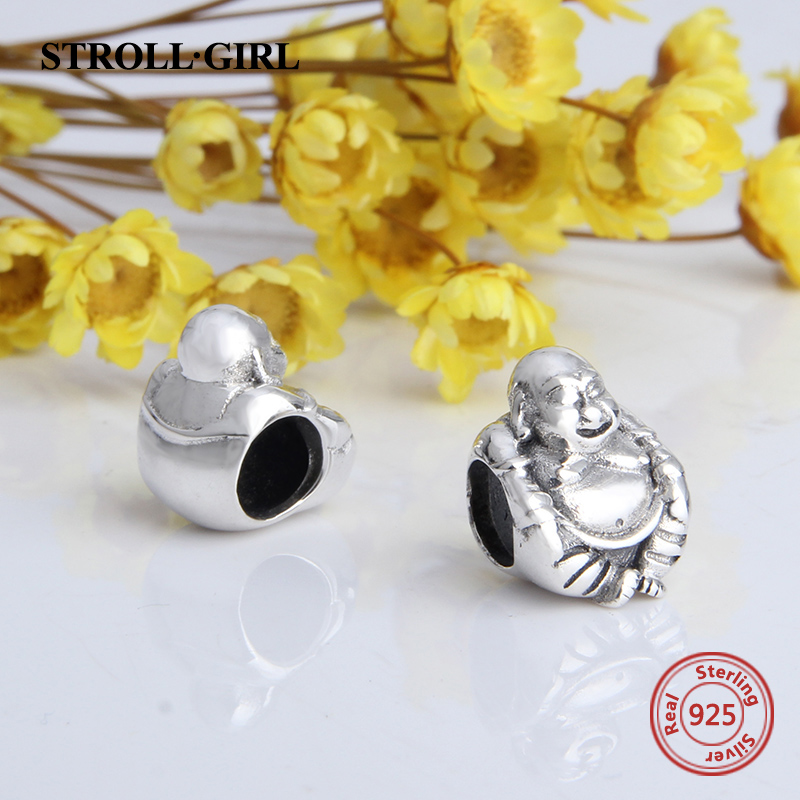 43c0526a6 StrollGirl diy beads craft 925 sterling silver Buddha charms fit authentic  European charms bracelet fashion jewelry for gift-in Beads from Jewelry ...