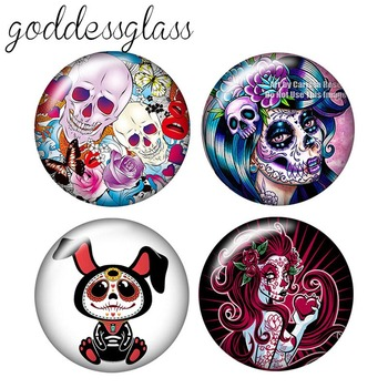Fashion Skull girl Ghosts 10pcs 12mm/18mm/20mm/25mm Round photo glass cabochon demo flat back Making findings ZB0467
