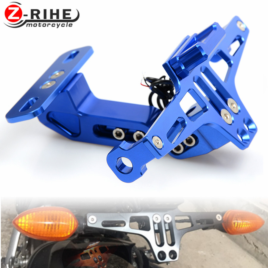Universal CNC Aluminum Motorcycle Rear License Plate Mount Holder with White LED Light for Honda Kawasaki Yamaha KTM Suzuki BMW cnc aluminum motorcycle rear license plate mount holder with led light for kawasaki ninja zx6 zx6r zx7r zx9r zx12r zx14r zx500r