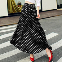 2018 summer Chiffon Long Skirts womens new fashion Polka Dots maxi skirt elastic high waist print casual skirt