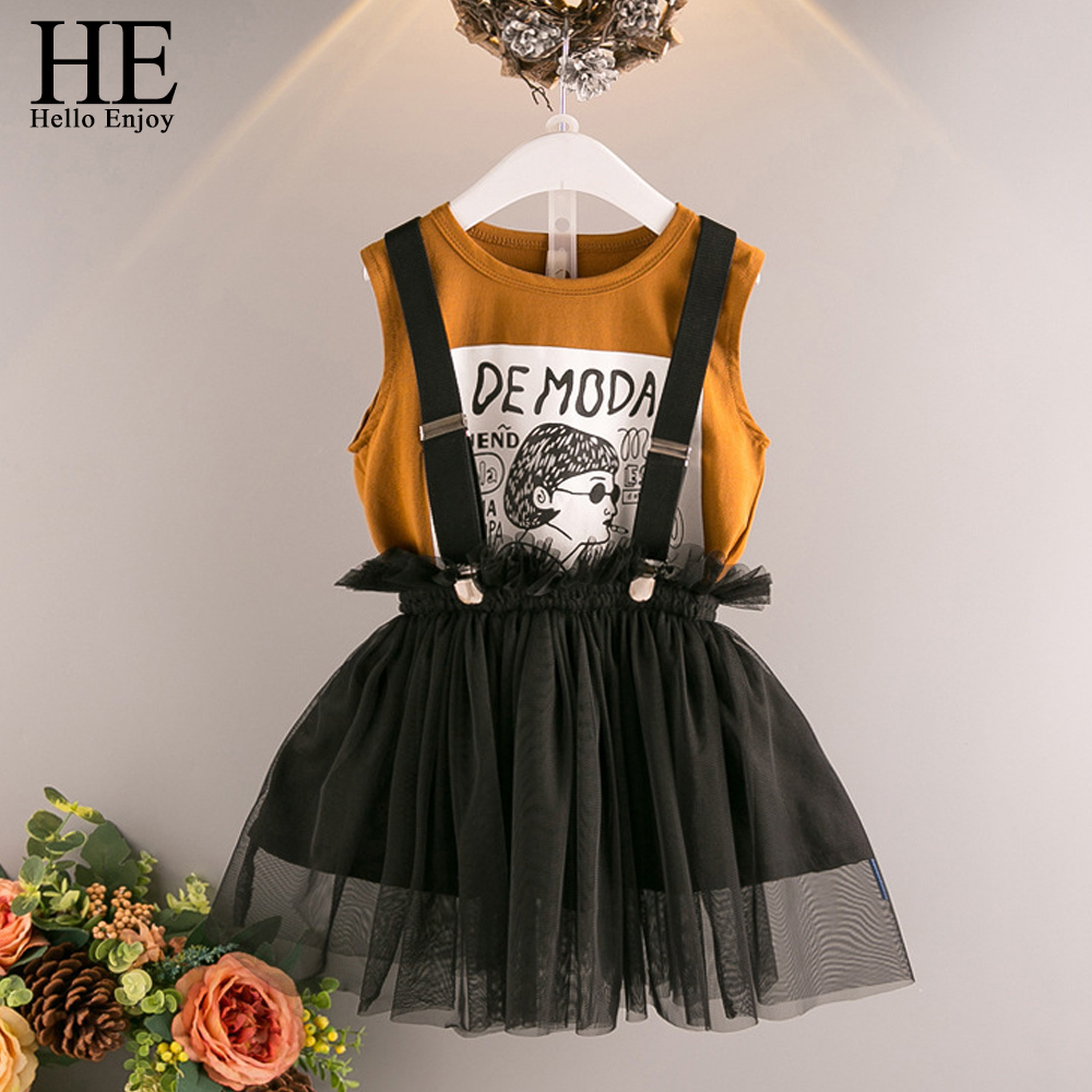 HE Hello Enjoy Girls Clothes 2 3 4 5 6 Years Children's Clothing Sets Cartoon Print Letter T-shirt+Suspender Mesh Skirt Outfits girls letter print tee with tie waist gingham skirt