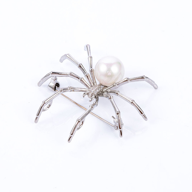 Unisex Personalized Insect Brooch Pins Imitation Pearl Spider Brooches for Women Men Coat Dress Scarf Jewelry Accessories