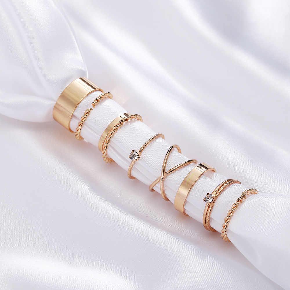 SEVENSTONE 2019 9PCS ทอง/แหวนเงินหญิง Minimal Minimalist เครื่องประดับ Knuckle นิ้วเท้าชุดที่สวยงามของขวัญผู้หญิง charm S