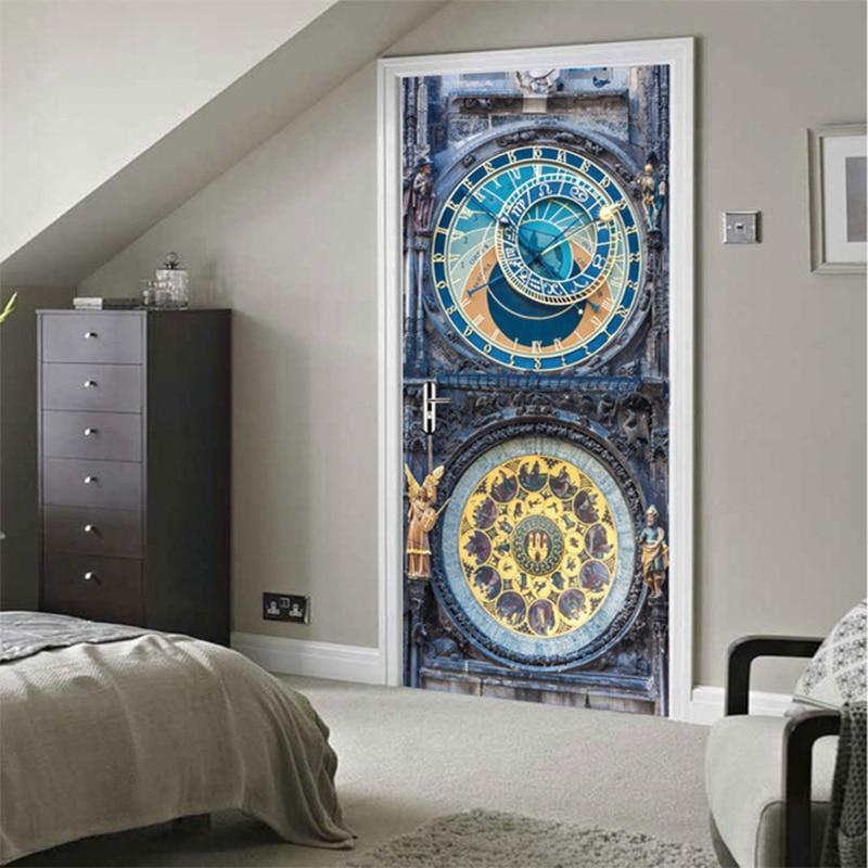 3D Old Clock Poster PVC Waterproof Entire Door Sticker Creative Stickers Door Wall Sticker DIY Mural Bedroom Home Decor