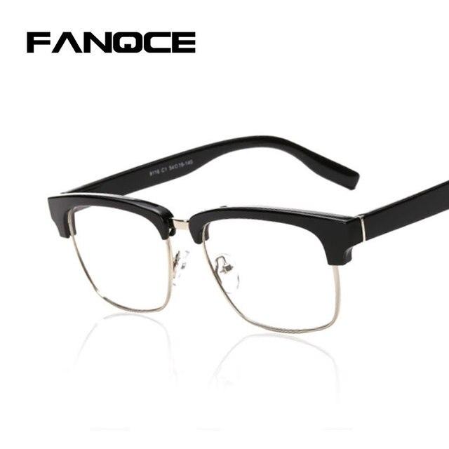 FANQCE Half Frame Marca Cool Designer Homens Grandes óculos de Sol Óculos  de Lente Clara Óculos fd6e9d06c4