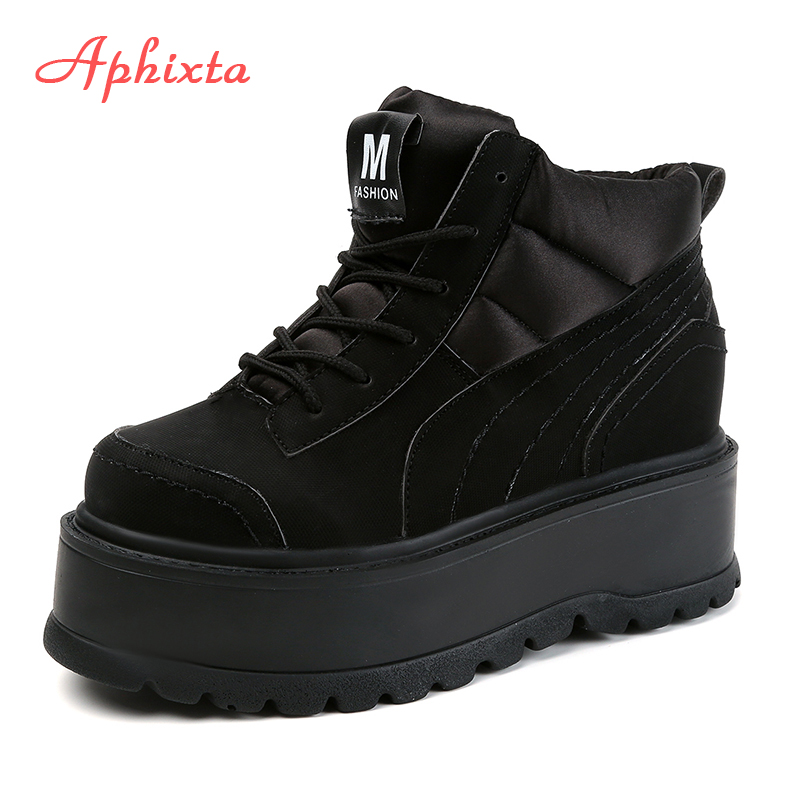 Фото Aphixta Platform Lace-up Ankle Winter Women Boots High Quality Height Increasing Ladies Shoes Cotton Fabric Down Fashion Boots