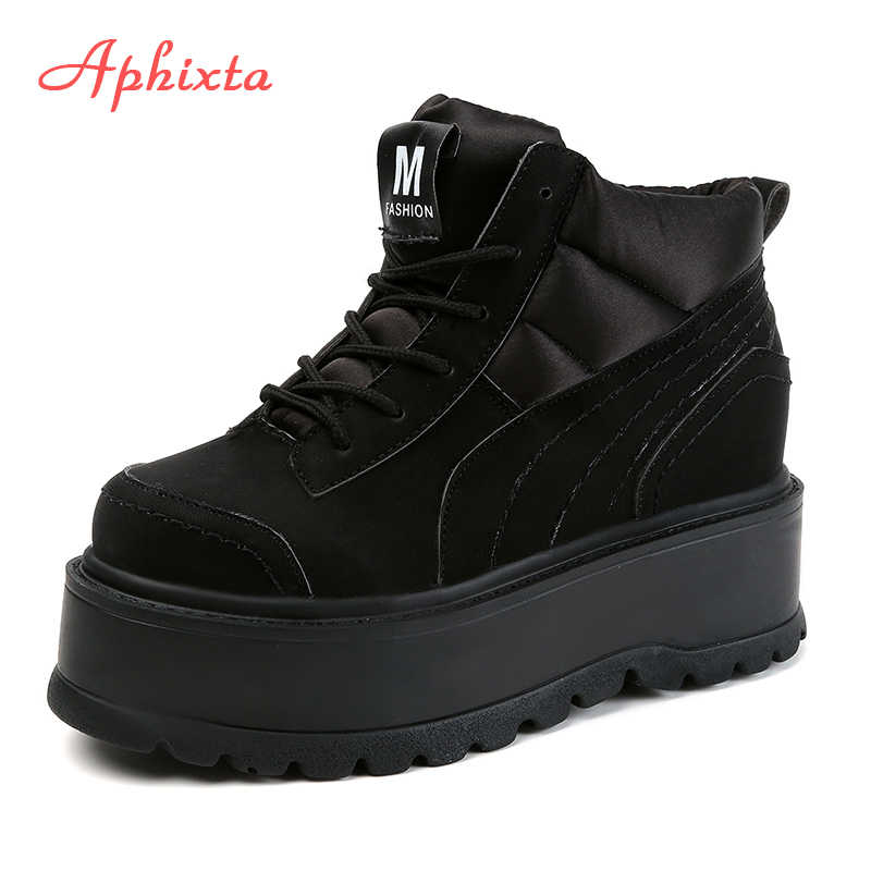 Aphixta Platform dantel-up Ayak Bileği Kış Kadın Çizmeler Yüksek Kalite Yüksekliği Artan Bayanlar Ayakkabı Pamuklu Kumaş Aşağı Moda Botları
