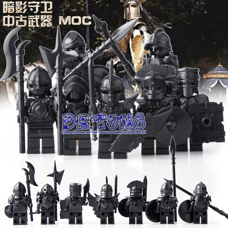 DR.TONG 7pcs Medieval Castle Knights The Hobbits The Lord of the Rings Figures with Armor Weapon Building Blocks Brick Toys Gift enlighten new 2315 656pcs war of glory castle knights the sliver hawk castle 6 figures building block brick toys for children