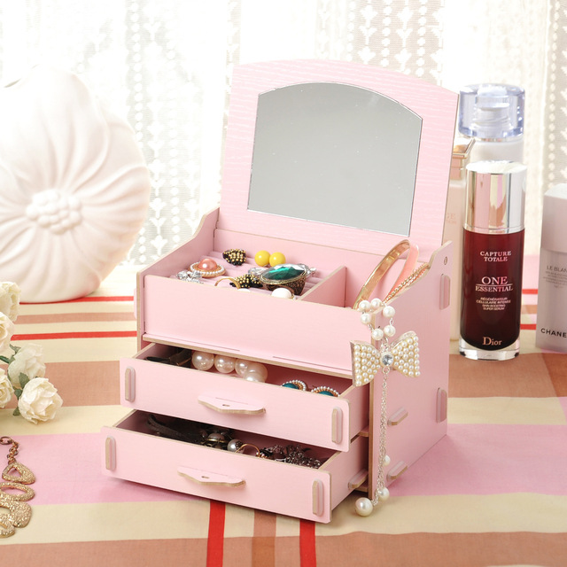 New DIY Wood Drawer Organizer with Folding Cover Mirror 181313cm