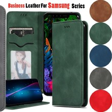 New Business PU Leather Case For Samsung Galaxy J4 J6 Plus 2018 Vintage Flip Card Slot Phone Bag M10 M20 A7 A8 Cover