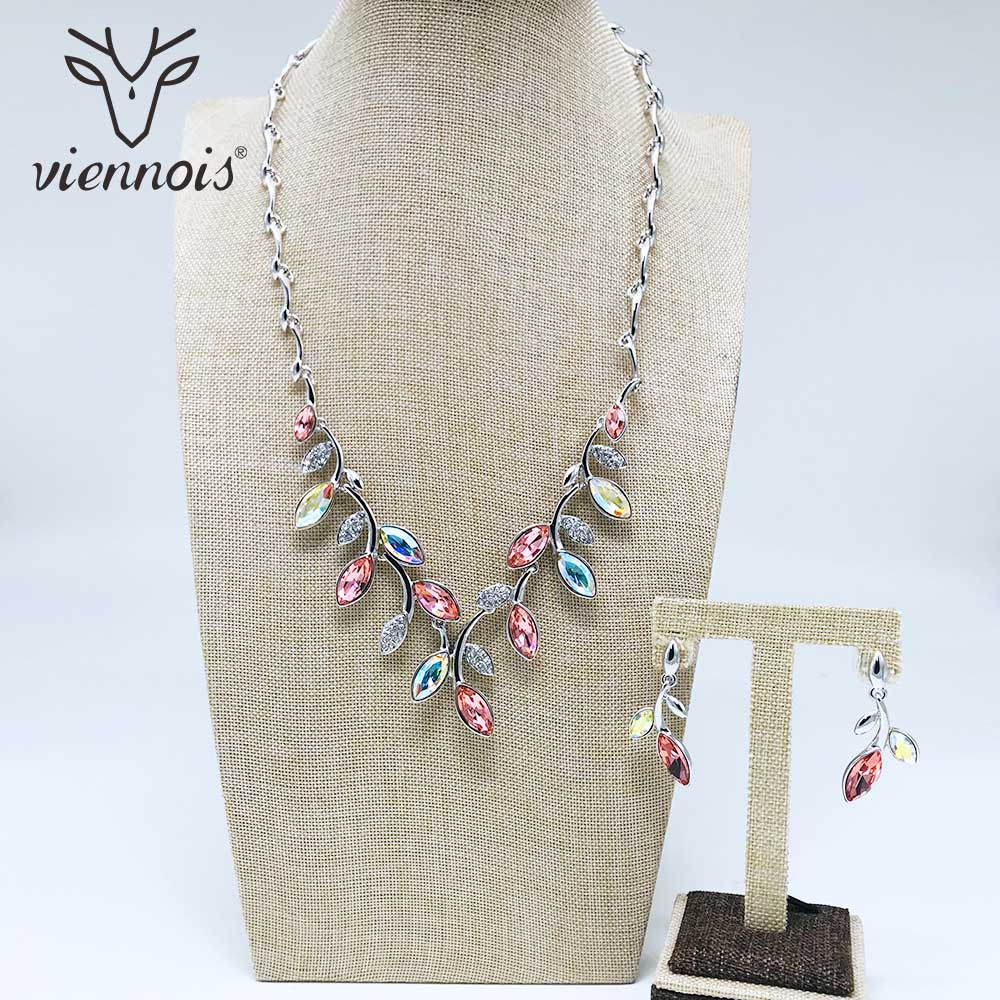 Viennois Mix Silver/ Rose Gold/ Gold Color Crystal Necklace Stud Earrings Rhinestone Jewelry Sets for Women Wedding Bridal