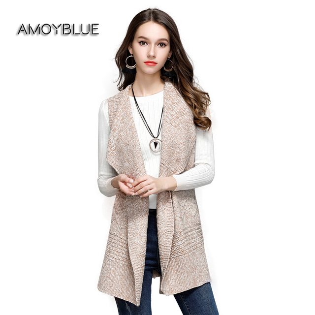 Amoyblue Long Knitted Cardigans Sleeveless Sweater Vest Women ...
