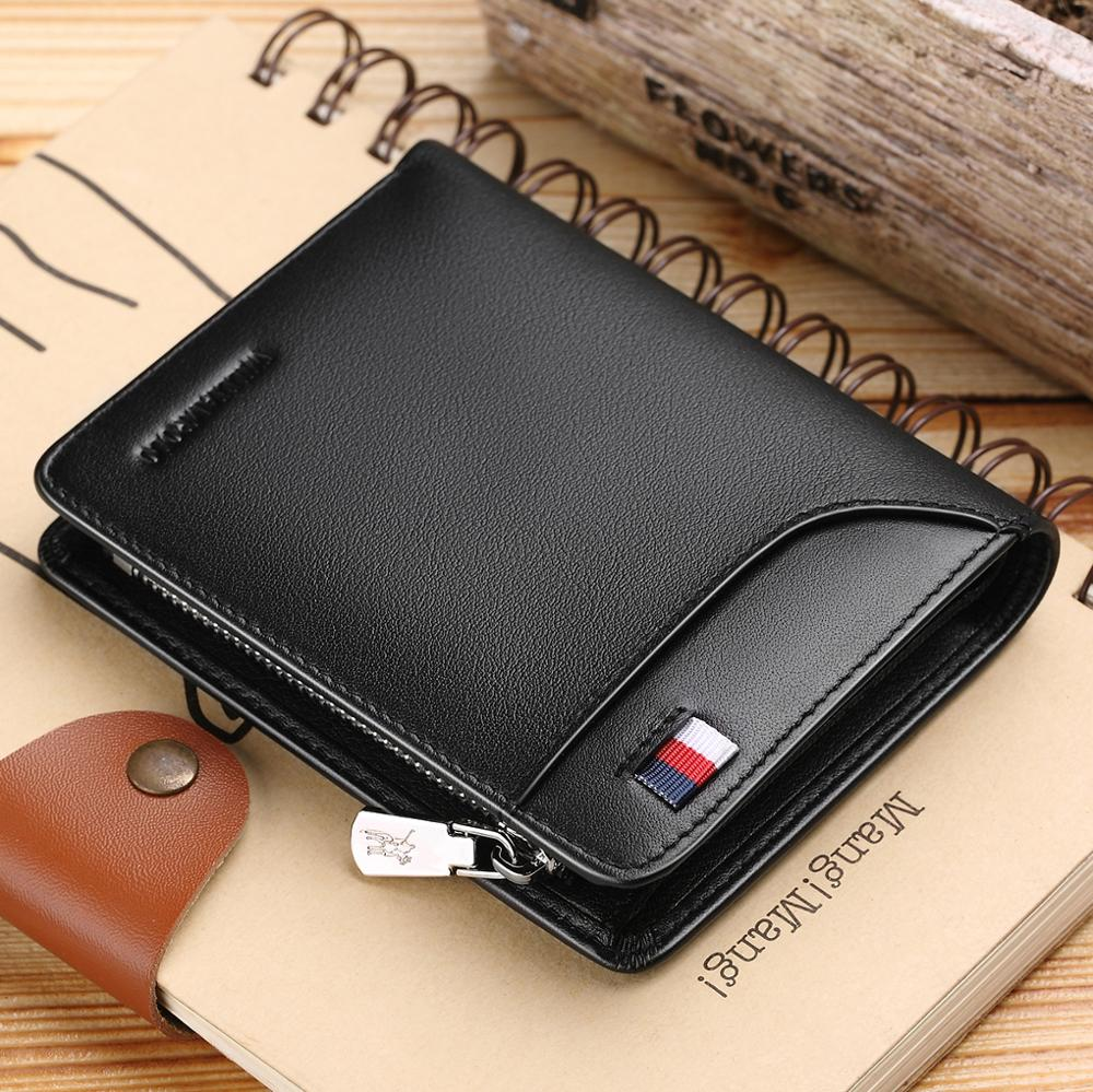 WilliamPOLO  Men Wallet Short Credit Card Holder Genuine Leather Multi Card Case Organizer Purse With Zipper Pocket Portable