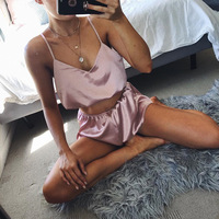 Women Satin Pajamas Sexy Sleepwear Sleevless Top Shorts Cute Camisole Set Fashion Pyjama Women's Homedress