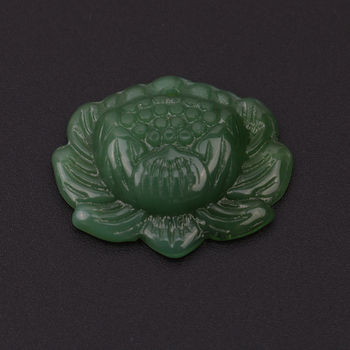 Jewelry Pendant Vivid Hand-carved Lotus Flower Natural Green Jadeite image