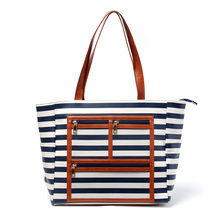 Striped Women Canvas Handbag With Three Zipper Pockets Compartment Purse Bag Faux Leather Bottom Casual Tote Can Be Embroidery metal ring faux leather embroidery tote bag
