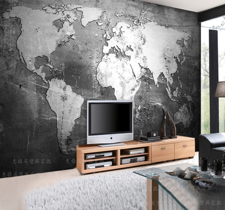 Custom size photo retro personality world map mural tv for Decor mural xxl