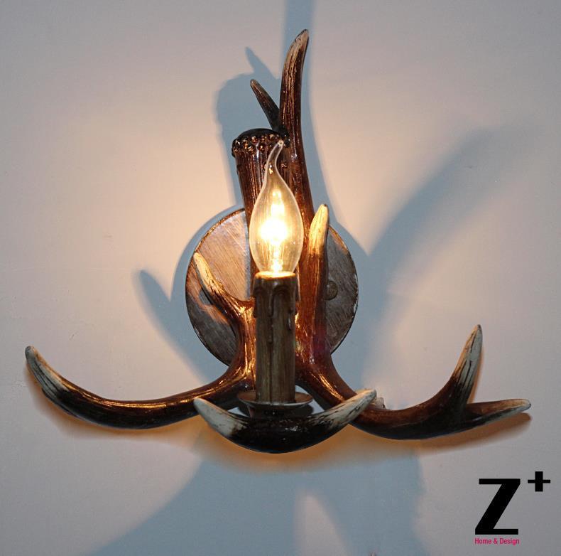 Smola američkog stila jelena rog SCONCE jedno svjetlo Country style - Unutarnja rasvjeta - Foto 2