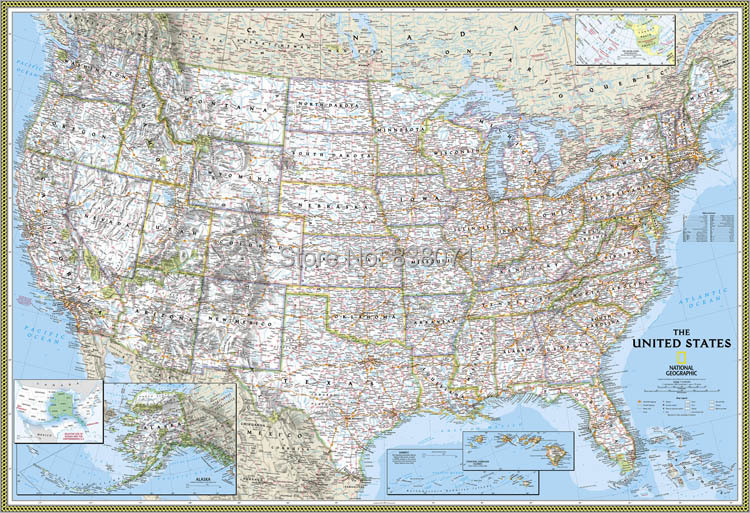 Oil Painting On Canvas National Geographic American Map Usa Decorate Wall