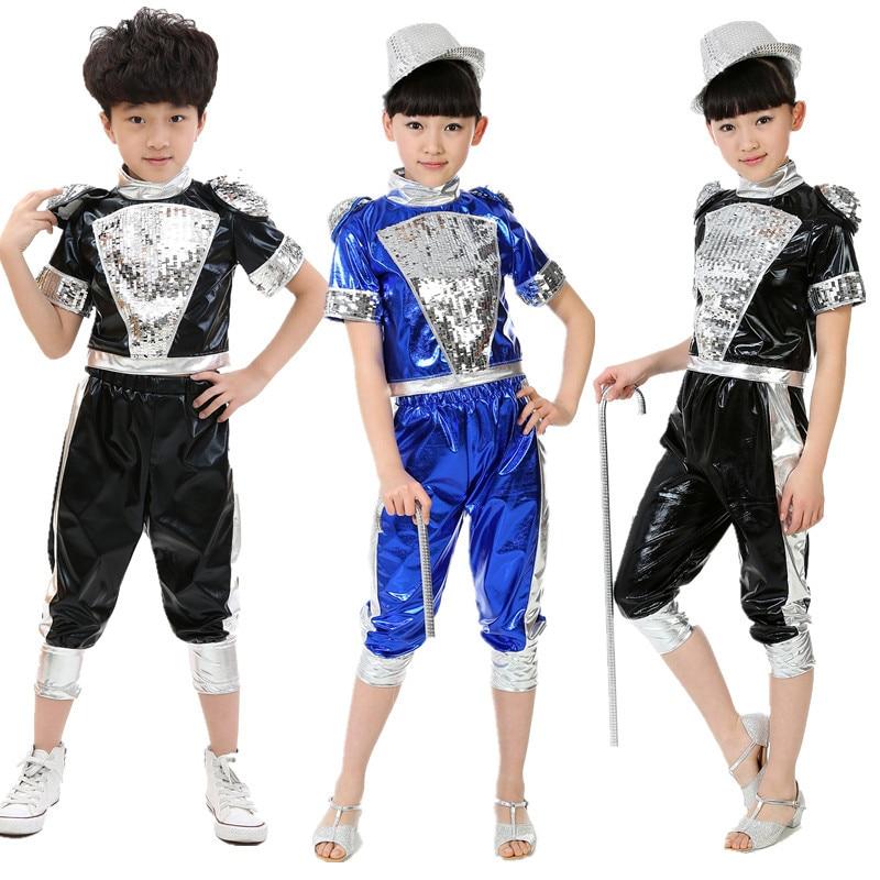 10pcs Lot Free Shipping Sequin Children Boys Girls Jazz Clothing Hip