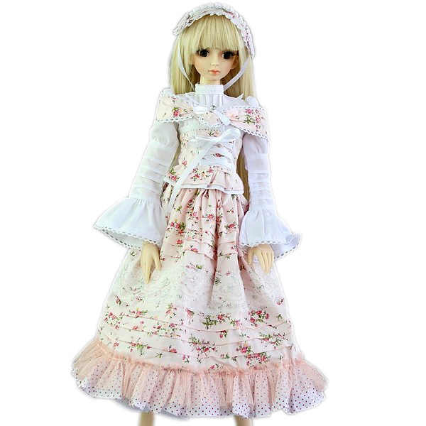 ФОТО [wamami] 148# White Flower Floral Print Dress/Suit 1/3 SD DZ AOD DOD BJD Dollfie