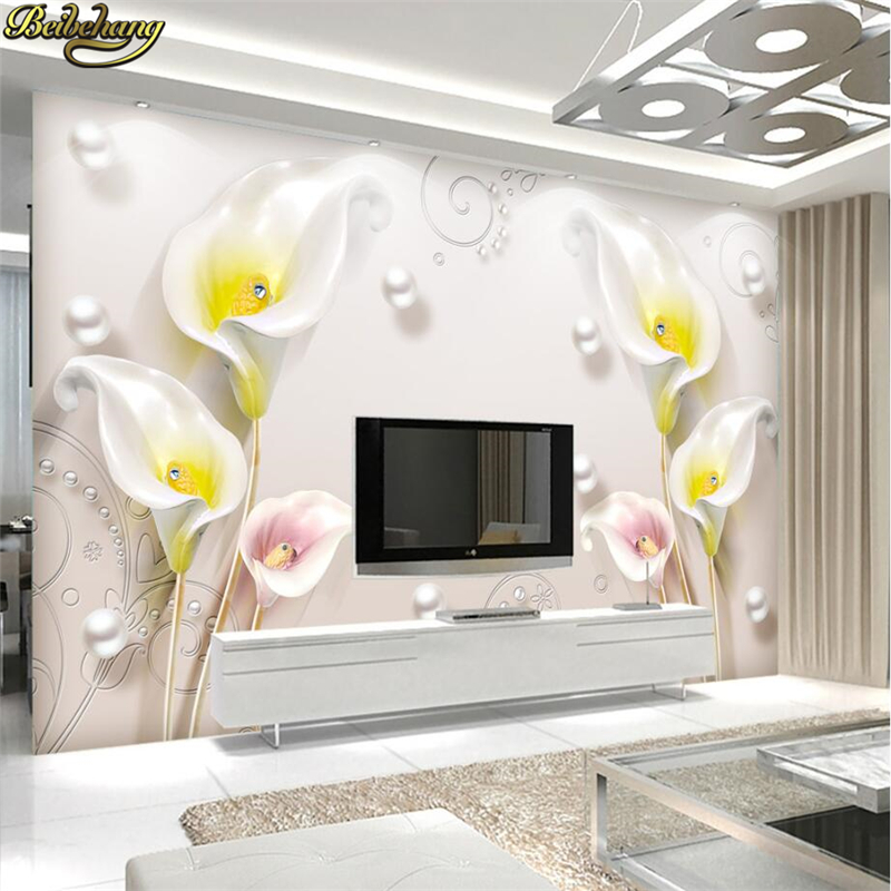beibehang Custom papel de parede 3D Calla lily Photo Wallpaper for Wall Painting Pictures Living Room TV Background Wall paper xchelda custom modern luxury photo wall mural 3d wallpaper papel de parede living room tv backdrop wall paper of sakura photo