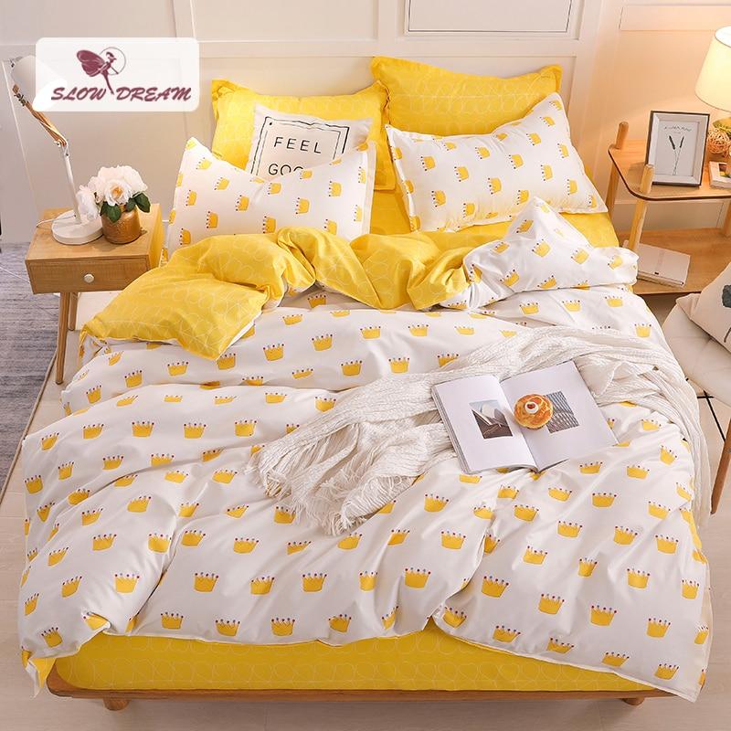 Slowdream Crown Bedspread Yellow Bed Flat Sheet Pillowcases Duvet