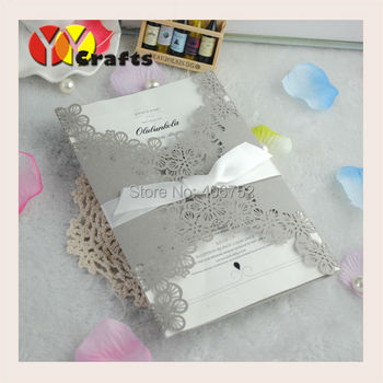 Creative design silver flower lace invitations, europe wedding invitation card with Envelope and Insert