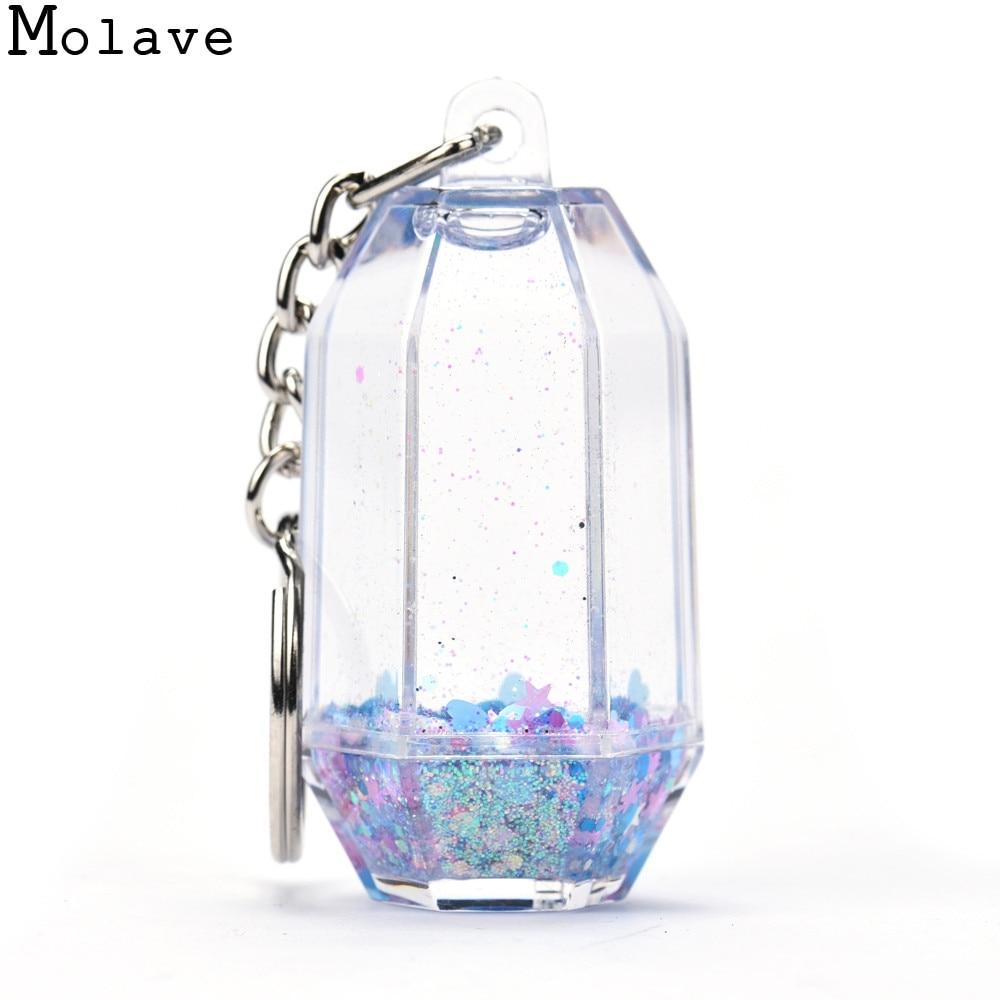 2017 New Fashion Glitter Powder Moving Liquid Quicksand Star Key Ring Mini Filled Bottle Key Pendant
