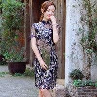 Black Sexy Women Chinese Traditional Dress Short Sleeve Cheongsam Lace Lady Elegance Qipao Evening Party Mini Dresses 90
