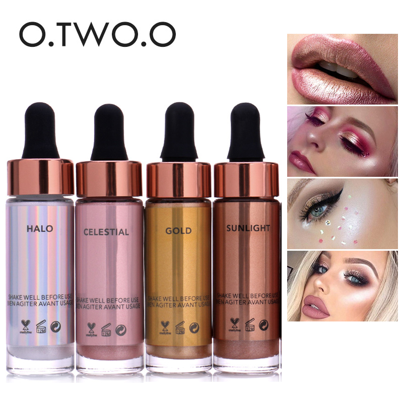 O.TWO.O Brand Liquid Highlighter Face Brighten Makeup Glitter Face Glow Shimmer Bronzer Highlighter Liquid Base Cosmetics allbitefo fashion sexy high heels stretch fabric over the knee boots brand pointed toe high heel shoes women boots size 33 43