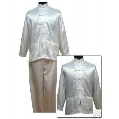 Free shipping ! White Men's Polyester Satin Pajama Sets jacket Trousers Sleepwear Nightwear SIZE S M L XL XXL XXXL M3013