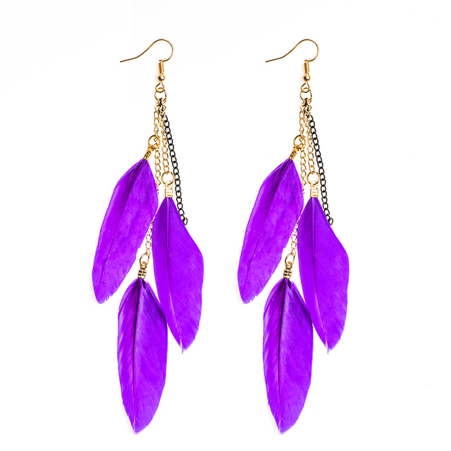 H:HYDE Fashion Multicolor Feather Drop Earrings For Women Beach Vacation Dangle