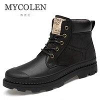 MYCOLEN/Осенняя мужская обувь; высокие мужские рабочие ботинки; уличные кожаные ботильоны; Мужская защитная обувь; Bota Masculina; Размеры 37-47