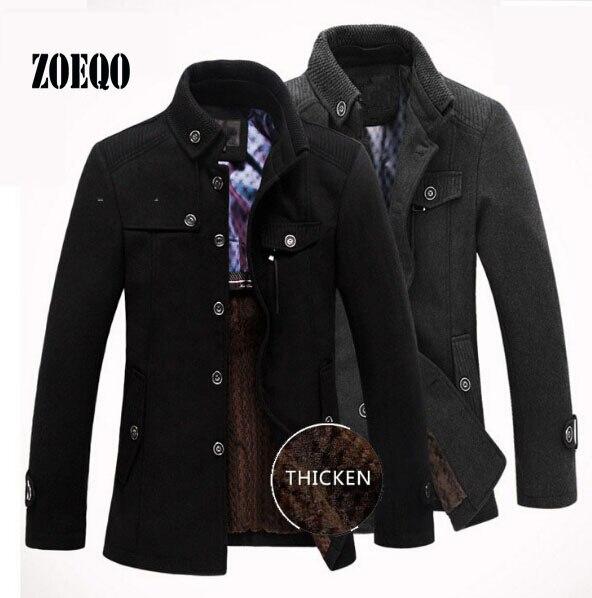 Drop shipping nowa marka zima męska kurtka z wełny dorywczo płaszcz mężczyzna zagęścić kurtki mężczyźni płaszcz czarny/szary Plus rozmiar M XXXL w Kurtki od Odzież męska na  Grupa 2