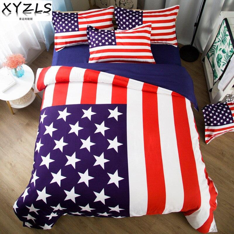 XYZLS Sterne und Streifen Baumwolle Bettwäsche Set US/AU/UK Königin Bettwäsche Flagge der Vereinigten Staaten Twin volle König Doppel Bettwäsche Kit-in Bettwäsche-Sets aus Heim und Garten bei  Gruppe 1