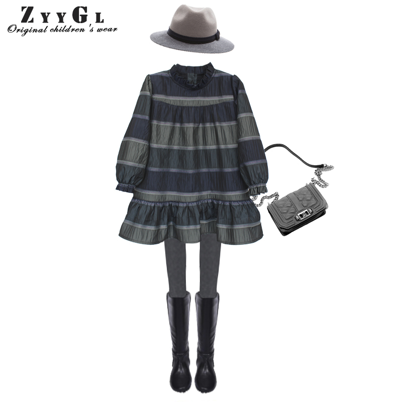 ZYYGL children clothing 2017 New Europe and America Style Retro long sleeve girls dress Autumu Princess dress for children