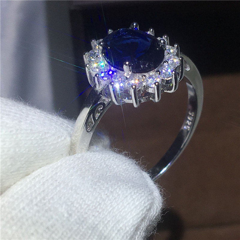Royal Jewelry Princess Diana 100% Real 925 Sterling silver ring Blue 5A Zircon Cz Engagement wedding band rings for women Bridal