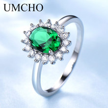 UMCHO Princess Diana Rings 925 Sterling Silver Jewelry Created Nano Emerald Best Anniversary Gift For Women Fine