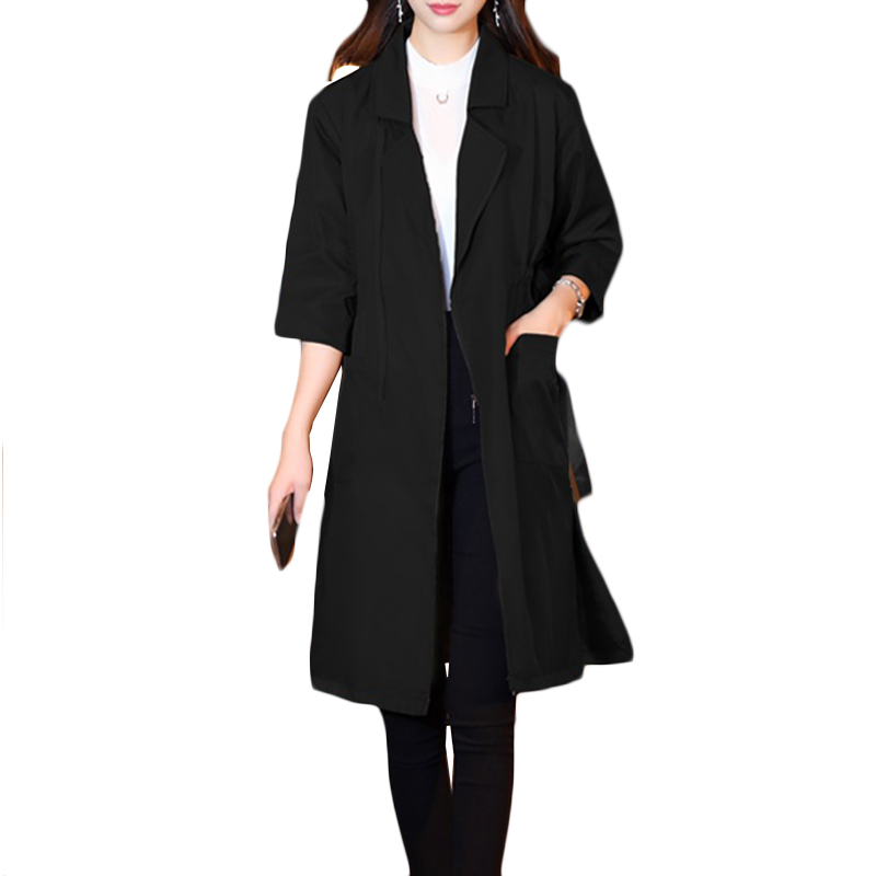 2019 New Spring Autumn Women High waist Fashion Plus Size Thin Loose   Trench   Coat Three Quarter Ladies Long Blazers Overcoat a342