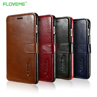 FLOVEME Luxury Leather Flip Phone Bags For IPhone 7 Plus Full Protective For IPhone6 Case ID