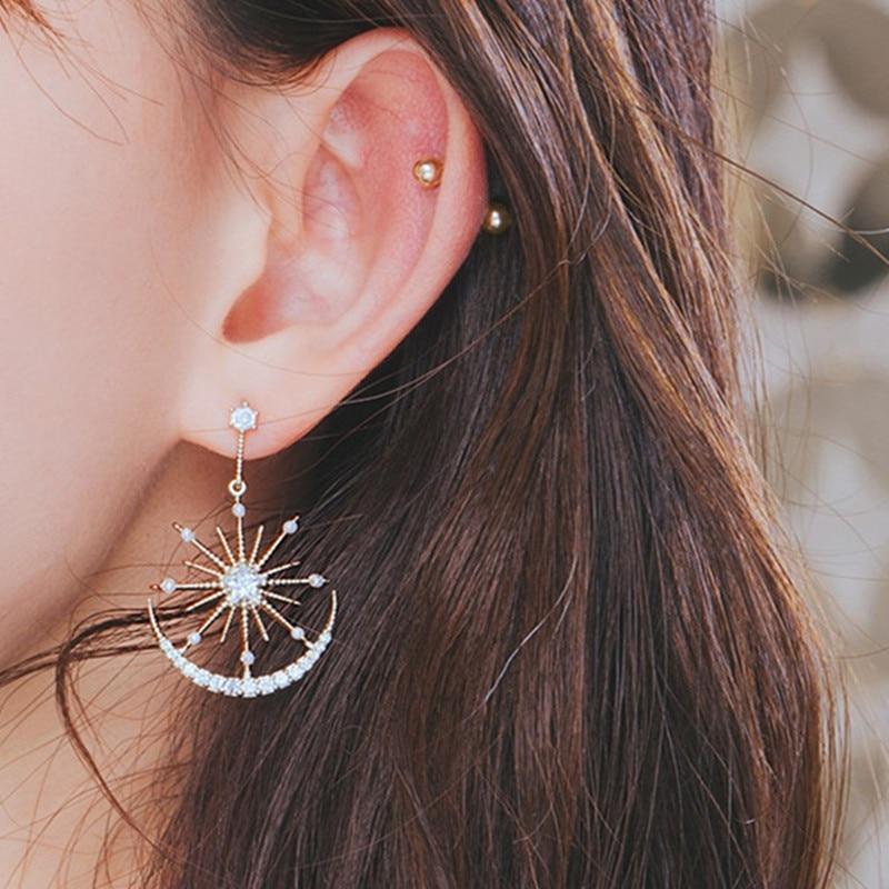 Earrings Solar Moon Crystal Earrings For Women