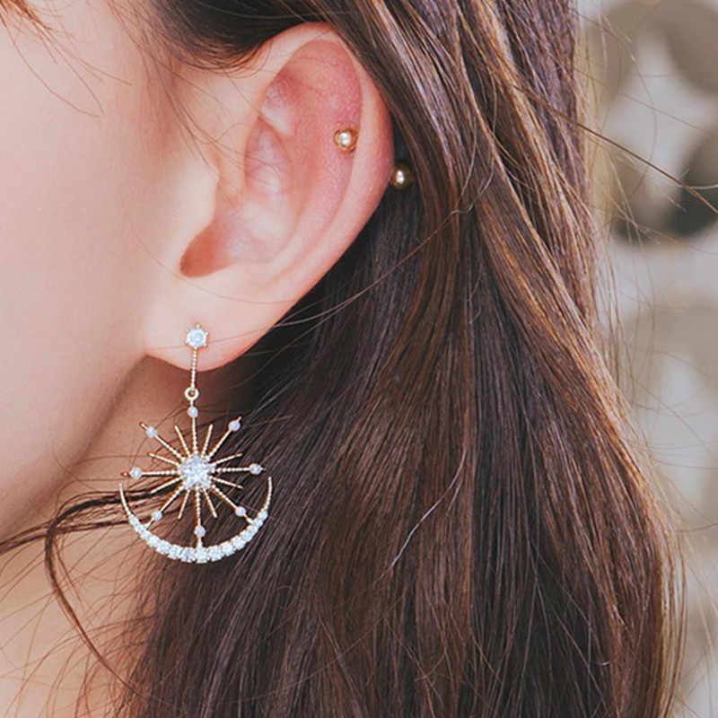 Модный кристалл геометрические Женские Висячие серьги Солнечная Луна хрустальные серьги для женщин Капли серьги богемные серьги