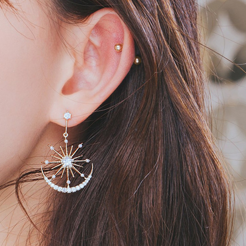 Crystal Earrings Geometric Solar-Moon Trendy Women Drops for Bohemian