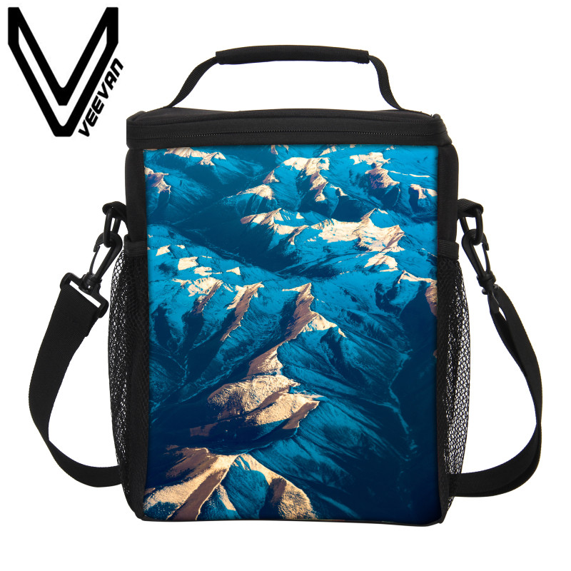 VEEVANV Prints Thermal Lunch Box Men Storage Container Thermo Lunch Bags Women Portable Food Picnic Handbag Insulated Cooler Bag